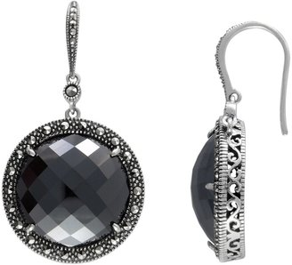 Swarovski Lavish by TJM Sterling Silver Hematite Halo Drop Earrings - Made with Marcasite
