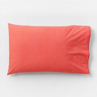 west elm Organic Cotton Frayed-Edge Pillowcases - Bergamot