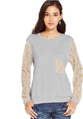 Say What Juniors Top, Long Sleeve Lace Sweatshirt