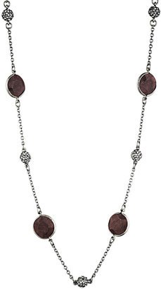 Danielle Stevens Jewelry Faceted Wood Necklace in Brown/Silver