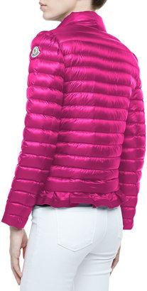 Moncler Peplum Puffer Jacket, Fuchsia