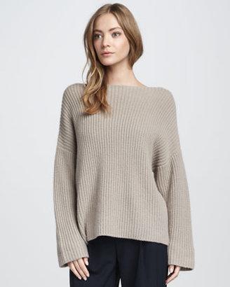 Vince Chunky Boat-Neck Sweater, Sesame