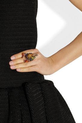 Lydia Courteille Gardens of Xochimilco 18-karat blackened gold multistone ring