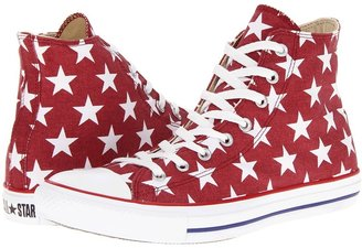 Converse Chuck Taylor All Star Star Print Hi (Jester Red/White Star Print) - Footwear