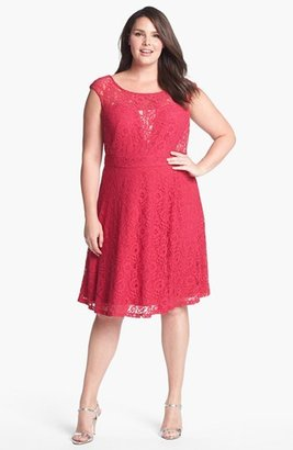 Donna Ricco Lace Fit & Flare Dress (Plus Size)