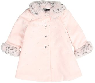 Biscotti Swing Coat With Faux Fur Detailing (Infant) (Pink) - Apparel