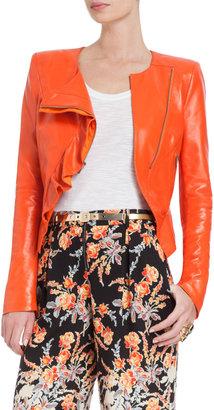 BCBGMAXAZRIA Kidd Asymmetrical-Ruffle Leather Jacket