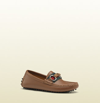 Gucci Kid's Leather Driver With Bamboo Horsebit And Web Detail