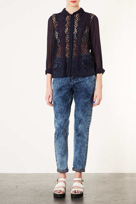 Topshop Geo Lace Rolled Sleeve Blouse