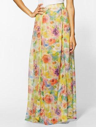 Isabel Lu Watercolor Floral Maxi Skirt