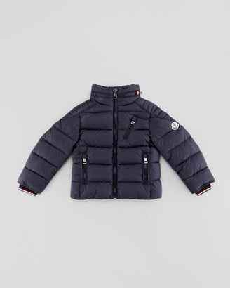 Moncler Quilted Nylon Down Biker Jacket, Navy, Sizes 8-10