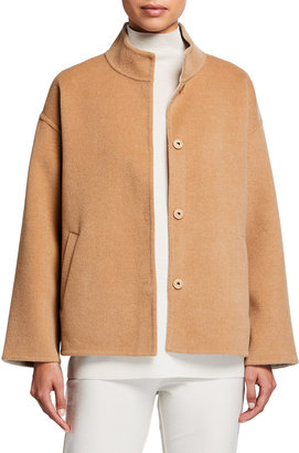 Eileen Fisher Stand Collar Boxy Wool-Cashmere Short Coat