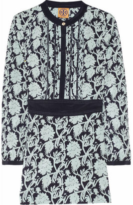 Tory Burch Dolores printed stretch-silk crepe de chine tunic top