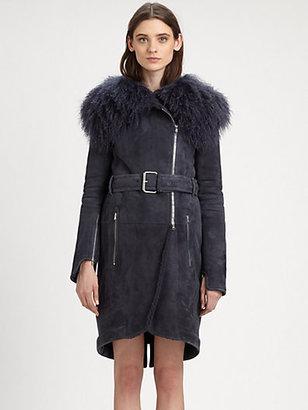 Carven Fur-Collared Shearling Coat