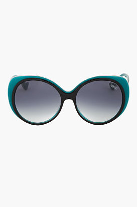 Kenzo Oversize Teal-Trimmed Round Sunglasses