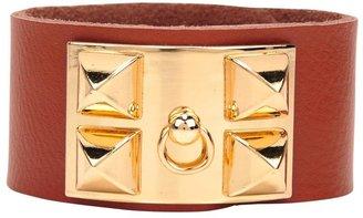 Pink Mascara Studded Faux Leather Bracelet