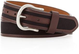 Neiman Marcus Cotton-Leather Belt, Black