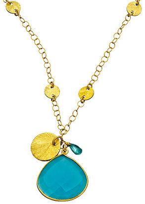 Athena Designs Brushed Bead Bezel Pendant Necklace
