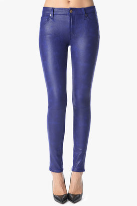 7 For All Mankind The Seamed Skinny In Crackled Leather-Like Capri Blue