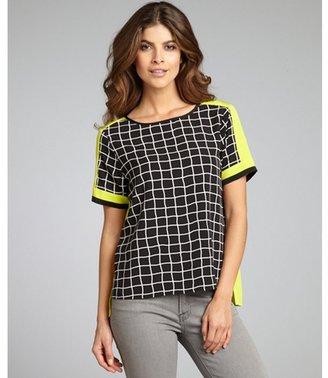 Ellen Tracy black and neon check print hi-low short sleeve blouse