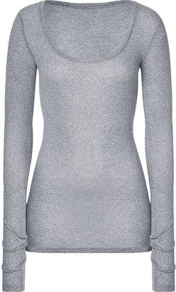 American Vintage Pebble Long Sleeve Scoop Neck Cotton T-Shirt