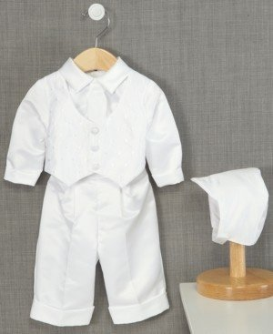 Lauren Madison Baby Boys' Hat & Suit Christening Set