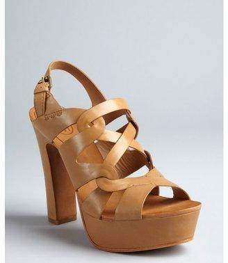 Ash light brown leather 'Diane' strappy platform stacked heels