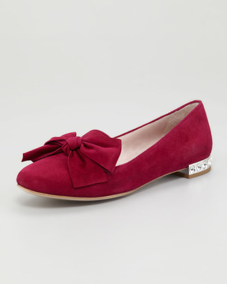 Miu Miu Jewel-Heel Suede Loafer