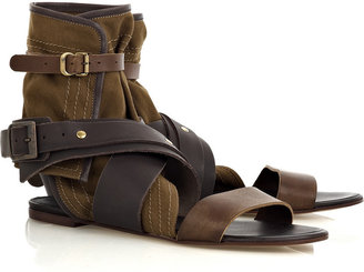 Chloé Multi-strap leather and canvas sandals