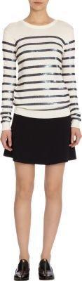 Barneys New York Sequin Striped Crewneck Sweater