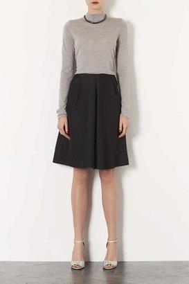 Topshop Textured Pleat Midi Skirt