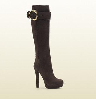 Gucci Josephine Round Horse-Heads Tall High Heel Platform Boot