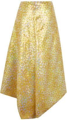 J.W.Anderson Yellow Sequin Drape Skirt