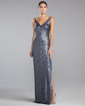 St. John Sequined Gown, Pewter