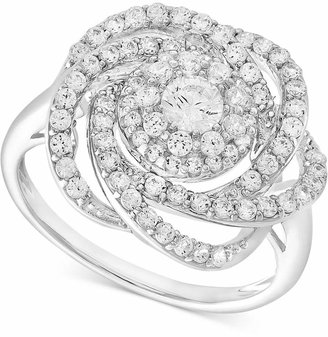 Macy's Wrapped In Love Diamond Ring, 14k White Gold Diamond Pave Knot Ring (1 ct. t.w.), Created for