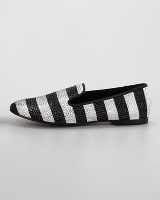 Giuseppe Zanotti Stripe Strass Smoking Loafer