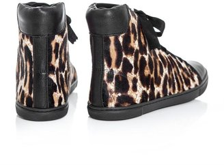 Lanvin Ponyskin and leather high top trainers
