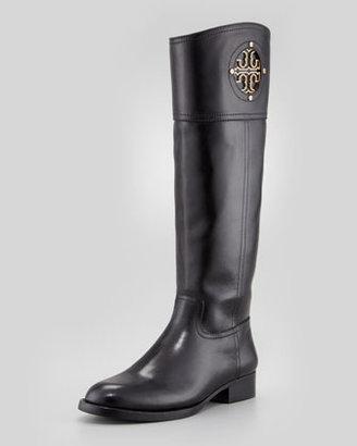 Tory Burch Kiernan Leather Logo Riding Boot, Black