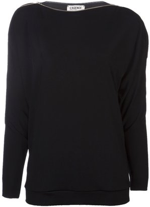 L'Agence zip shoulder blouse