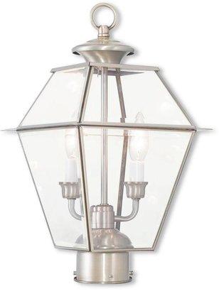 Livex Lighting Westover 2-Light Outdoor Brushed Nickel Post Light