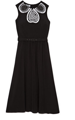 Moschino Cheap & Chic Embellished Silk-Chiffon Belted Dress