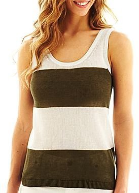 JCPenney jcp Striped Sweater Tank Top