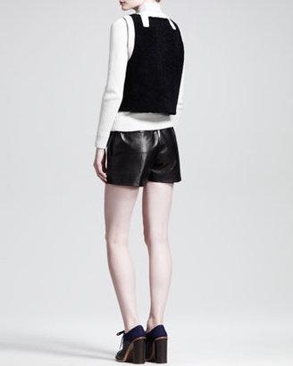 Chloé Bicolor Zip Shearling Vest