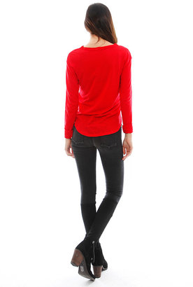 LnA Bender Long Sleeve Tee in Red