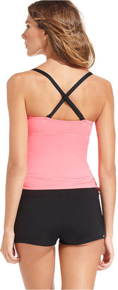 JAG Swimsuit, Crisscross Contrast-Color Ruched Tankini Top