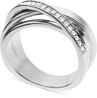 Michael Kors Ring, Silver-Tone and Clear Pave Intertwined Ring