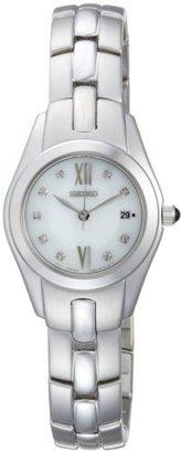 Seiko Women's SXDB85 Silver-Tone White Mother Of Pearl Dial 9 Diamonds Dress Watch $159 thestylecure.com