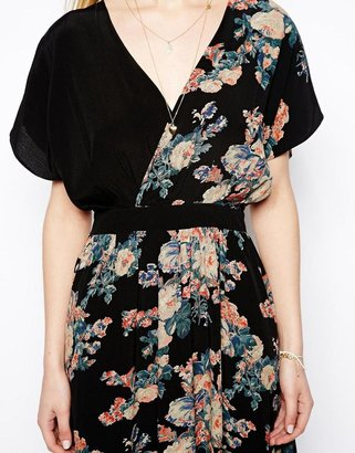 Asos Midi Dress With Cross Front In Vintage Floral