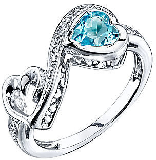 JCPenney FINE JEWELRY Love Grows Blue & White Topaz Heart Ring