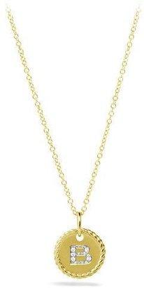 """David Yurman B"""" Pendant with Diamonds in Gold on Chain"""